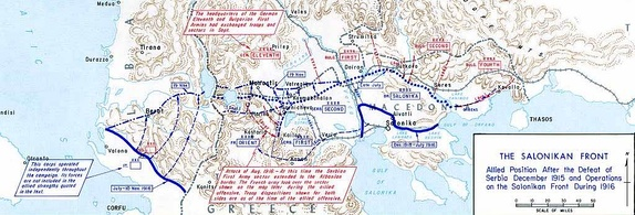 Map of Balkans showing troops movement