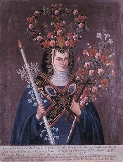 An example of a crowned nun, combining traditional Mesoamerican flower art with Christian iconography