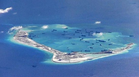 Subi Reef being built by China and transformed into an artificial island, 2015