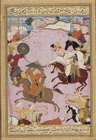 Ismail's battle with Uzbek warlord Muhammad Shaybani Khan in 1510, on a folio from the Kebir Musaver Silsilname. After the battle Ismail purportedly gilded the skull of Shaybani Khan for use as a wine goblet.