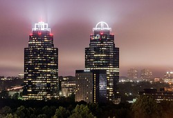 The contemporary skyline of Sandy Springs is dominated by the Concourse office towers.