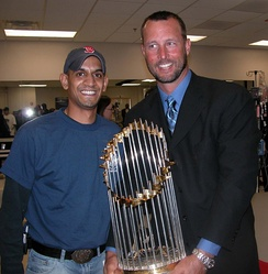Tim Wakefield and the 2004 World Series trophy