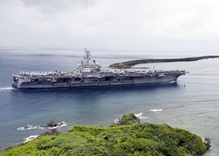 The aircraft carrier USS Ronald Reagan (CVN 76) enters Apra Harbor for a scheduled port visit.