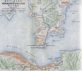 Карта района Гонконга 1915 года, на которой город-крепость Коулун отмечен как «Китайский город» («Chinese Town») в верхнем правом углу.
