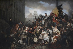 Scene of the Belgian Revolution of 1830 (1834), by Gustaf Wappers