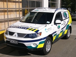 Non-acute patient transport ambulance from New Zealand.