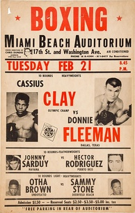 On-site poster for Cassius Clay's fifth professional bout
