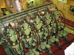 The MAN B&W 5S50MC 5-cylinder, 2-stroke, low-speed marine diesel engine. This particular engine is found aboard a 29,000 tonne chemical carrier.