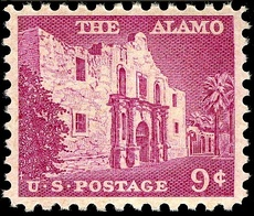 Second stamp, issued in 1956, depicts the facade of the Alamo mission.