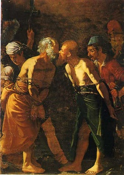 Farewell of Saints Peter and Paul, showing the Apostles giving each other the holy kiss before their martyrdom. (Alonzo Rodriguez, 16th century, Museo Regionale di Messina).