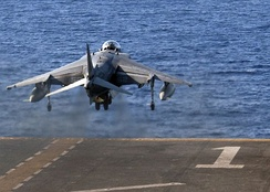 An AV-8B Harrier takes off from the flight deck of USS Wasp during Operation Odyssey Lightning, 8 August 2016.
