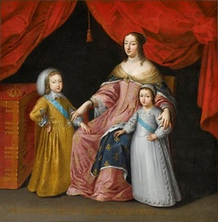 Anne of Austria with her children Louis XIV of France and Philippe, Duke of Orléans (unknown artist)