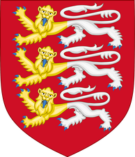 The Arms of Faversham Town Council is an example of the Royal Arms of England modified into a distinct civic emblem.[39][40]