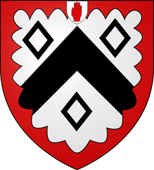 Coat of Arms of the Martin baronets of Long Melford (1667) with the badge of a Baronet of England.