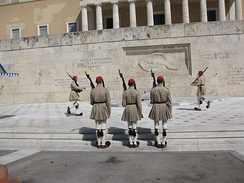 Changing of the Greek Presidential Guard in front of the Tomb of the Unknown Soldier at Syntagma Square.
