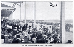 A month after Blériot's crossing of the English Channel in a biplane, the aviation week in Reims (August 1909) caught special attention.