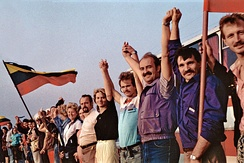 The Baltic Way human chain in 1989.