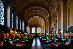 Bates Hall, the main reading room of the Boston Public Library, Boston, Massachusetts, United States
