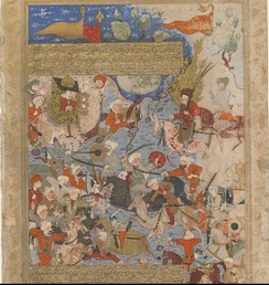 A fifteenth-century Persian miniature depicting the Battle of the Camel, a decisive encounter between the troops of the fourth caliph 'Alī, and an opposing army rallied by Muḥammad's wife, Āʿisha.[25][26] In the aftermath of Alī's victory, Āʿisha withdrew from politics. Traditionalists have used this episode to argue that women should not play an active political role, while modernists have held up Āʿisha's legacy in arguing for gender equity in the Islamic tradition.[27]