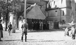 Polish people being executed by a German firing squad in Kórnik, October 1939