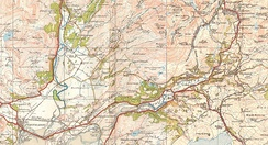 Ordnance Survey one-inch map from 1921-2 showing the route of the 'Welsh Highland & Ffestiniog Rly'.