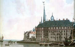The ducal palace at Düsseldorf, 1798 copper engraving by Laurenz Janscha. The palace burnt down in 1872.