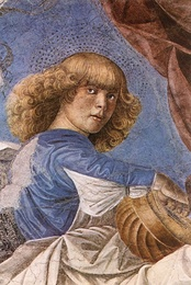 One of Melozzo's musician (seraphim) angels from the Basilica dei Santi Apostoli, now in the sacristy of St. Peter's Basilica