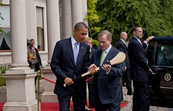 U.S. president Barack Obama accepting a hurley from Taoiseach Enda Kenny