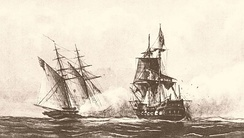 The USS Enterprise of the Mediterranean Squadron capturing a Tripolitan Corsair during the First Barbary War, 1801