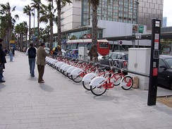 Bicing, a community bicycle program in Barcelona, Spain.
