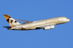 An Airbus A380 belonging to Etihad Airways, the second largest airline in the UAE after Dubai-based Emirates