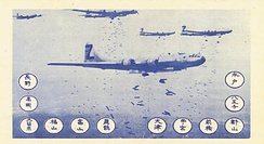 Leaflet showing B-29s dropping bombs. There are 12 circles with 12 Japanese cities named in Japanese writing.