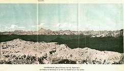 1890 graphic with the Himalayas, including Gaurisankar (Mount Everest) in the distance