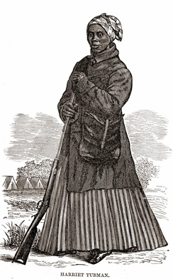 A woodcut of Tubman in her Civil War clothing