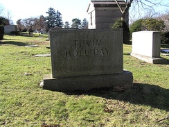 The grave of Holliday in Westchester Hills Cemetery
