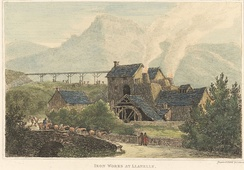 Etching of ironworks near Llanelli by John George Wood, 1811