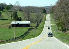 At 464 miles (747 km) long, Kentucky Route 80 is the longest route in Kentucky, pictured here west of Somerset.