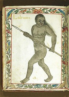 Chamorro Hunter with Spear, as depicted in the Boxer Codex (1590) of the Philippines