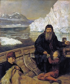 John Collier's painting of Henry Hudson with his son and some crew members after a mutiny on his icebound ship. The boat was set adrift and never heard from again.