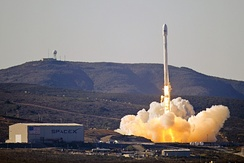 SpaceX west coast launch facility at Vandenberg Air Force Base, during the launch of CASSIOPE, September 2013.