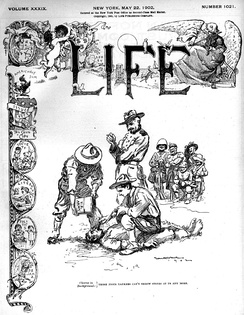 1902 Life magazine cover, depicting water curing by U.S. Army troops in the Philippines