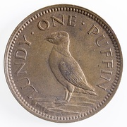 "Reverse of ""One Puffin"" coin, Lundy 1929"