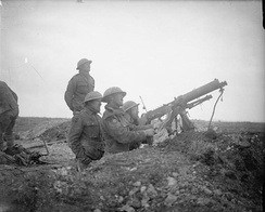 British machine gunners fire on German aircraft near Arras