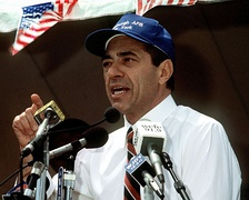 Governor Cuomo speaking at a rally in 1991 in Plattsburgh, New York