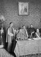The Serbian Concordat, 24 June 1914. Present for the Vatican were Cardinal Merry del Val and next to him, Pacelli.