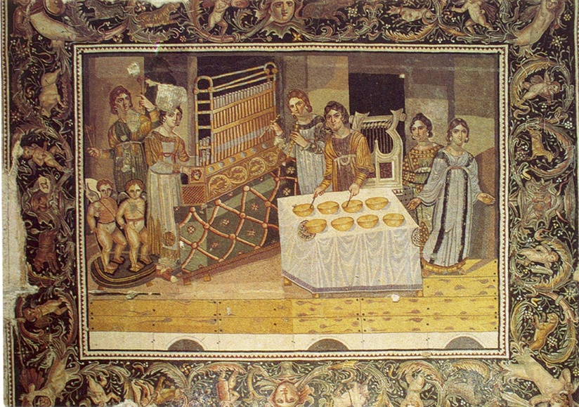 "Late 4th century AD ""Mosaic of the Musicians"" with organ, aulos, and lyre from a Byzantine villa in Maryamin, Syria.[10]"