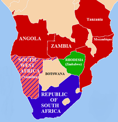 Geopolitical situation, 1978–79.   SWAPO allies   South African allies   South West Africa (Namibia)   South Africa