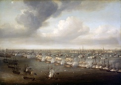 Battle of Copenhagen, by Nicholas Pocock. Nelson's fleet exchanges fire with the Danes, with the city of Copenhagen in the background.