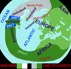 "Based on the medieval Íslendingasögur sagas, including the Grœnlendinga saga, this interpretative map of the ""Norse World"" shows that Norse knowledge of the Americas and the Atlantic remained limited."