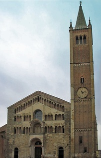 Parma Cathedral, Italy, 1178, has a screen facade ornamented with galleries. At the centre is an open porch surmounted by a ceremonial balcony. The tower, (Gothic 1284) is a separate structure as usual in Italy.